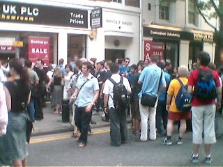 the mob queue to enter the sofa shop