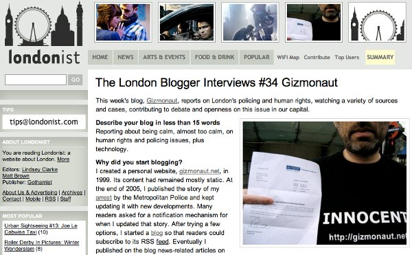 The London Blogger Interviews #34 Gizmonaut @ The Londonist